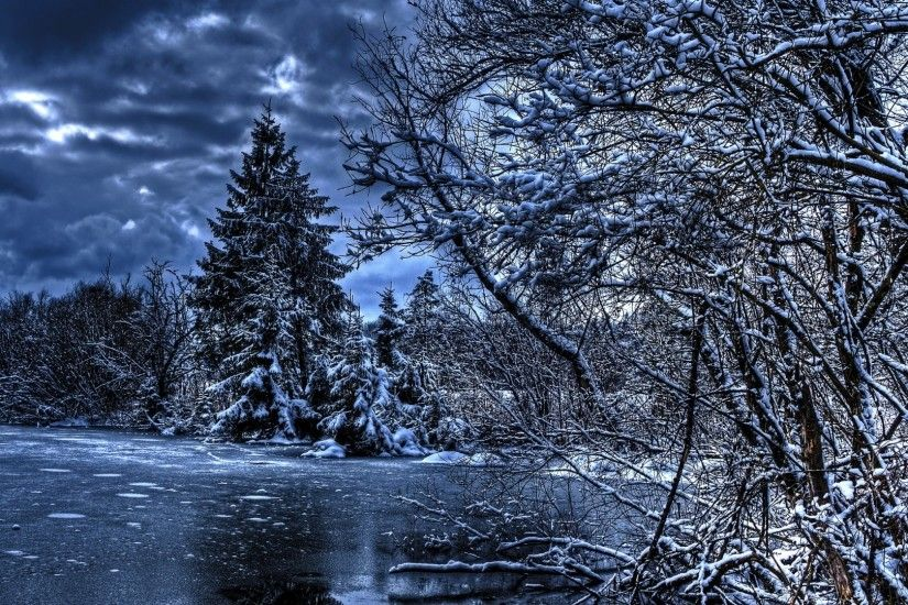 Preview wallpaper winter, trees, river, lake, snow, ice, hdr 1920x1080