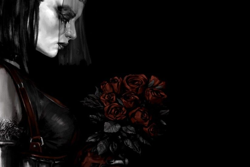 Home decoration arkham city a dark background woman rose veil bouquet Silk  Fabric Poster Print XY046