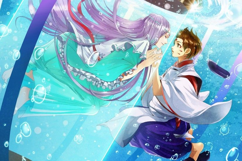 Boy Girl Touch Kimono Water Bubbles Magnificient Anime Wolf Wallpaper