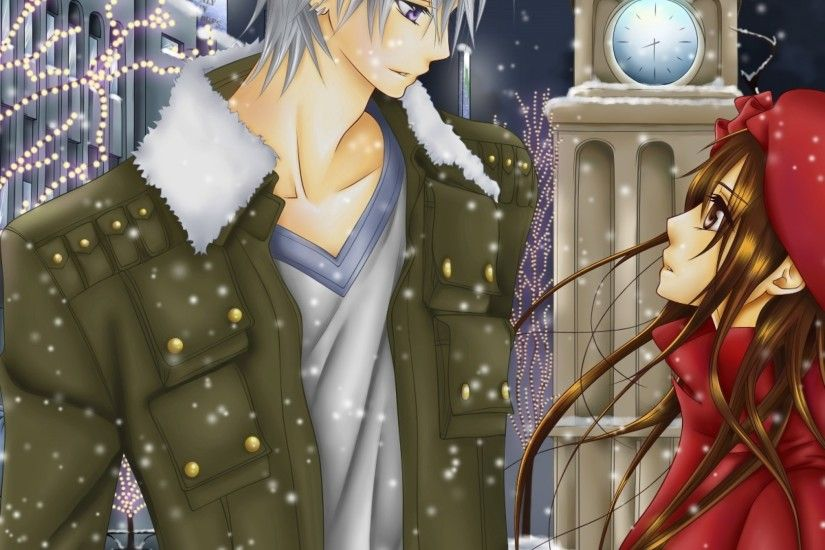 Preview wallpaper vampire knight, boy, girl, snow, date 2048x2048
