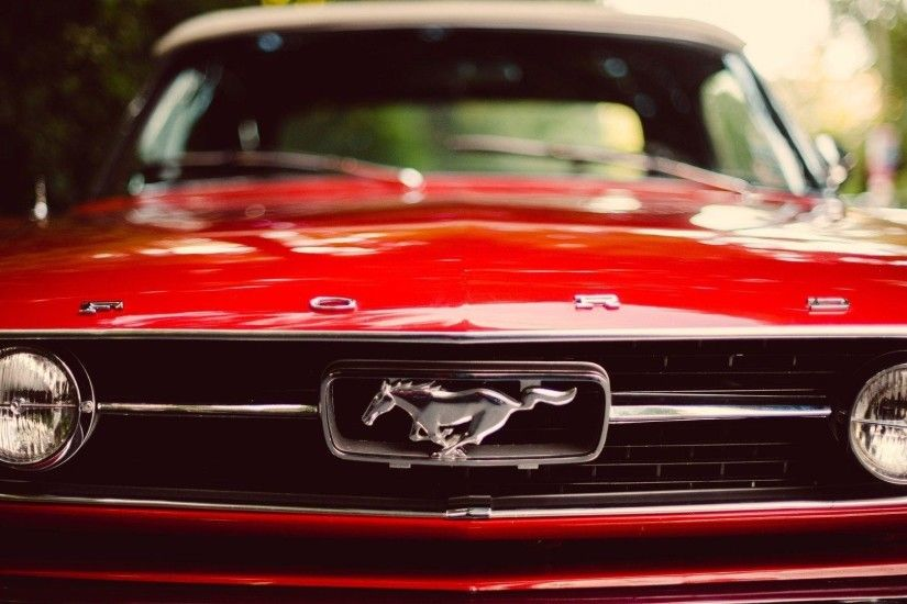 ... Elegant Red Classic Ford Mustang With Logo Wal | Wallpaper | Basic .