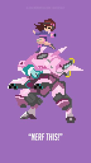 ... D.Va - 'Overwatch' Pixel Phone Wallpaper by artofsully