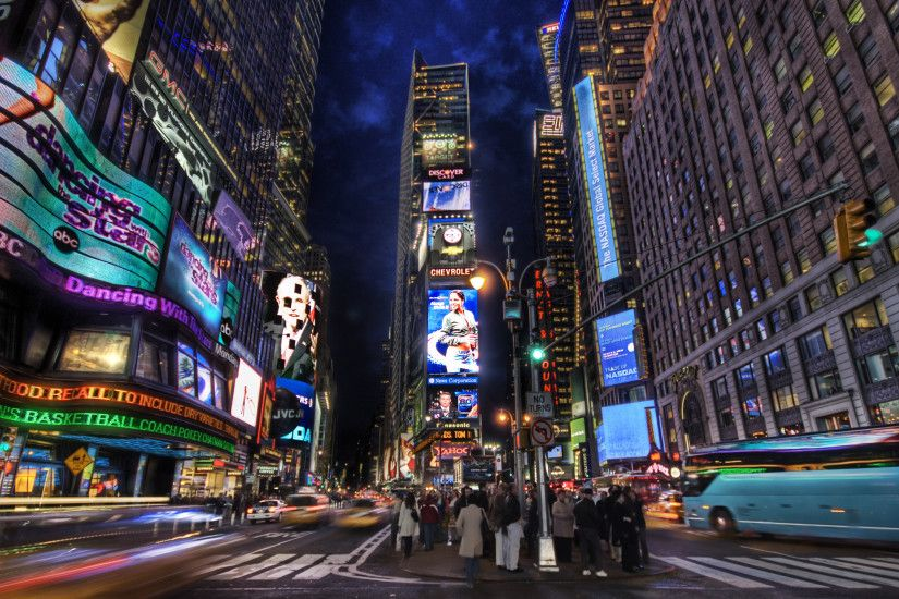 ... times square at dusk new york city widescreen wallpaper wide ...