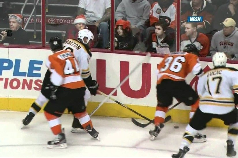"Milan Lucic ""boards"" Zac Rinaldo 12/17/11"