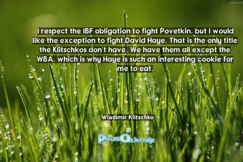 "Download Wallpaper with inspirational Quotes- ""I respect the IBF obligation  to fight Povetkin,"