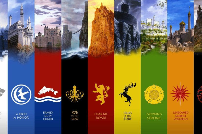 Game of Thrones House Flag & Castle 1920x1080 wallpaper