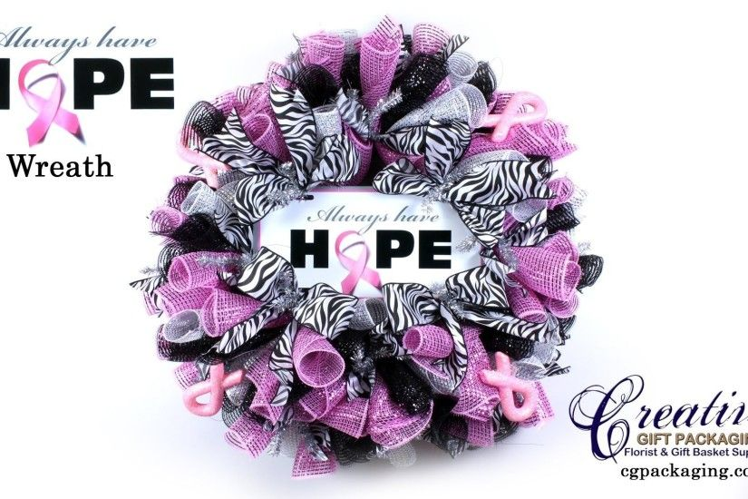 "1920x1080 How To Make a ""Breast Cancer Awareness"" Deco Mesh Wreath - Pink  Ribbon"