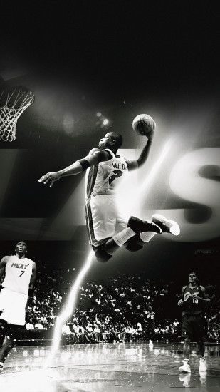 Dwyane Wade Dunk NBA Flash Sports Black And White Android Wallpaper .