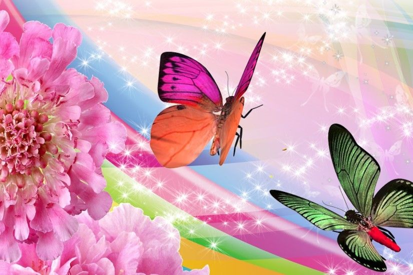 Butterflies Tag - Rainbow Flowers Butterflies Butterfly Firefox Persona  Sparkles Pink Bright Stars Mobile Wallpapers Hd