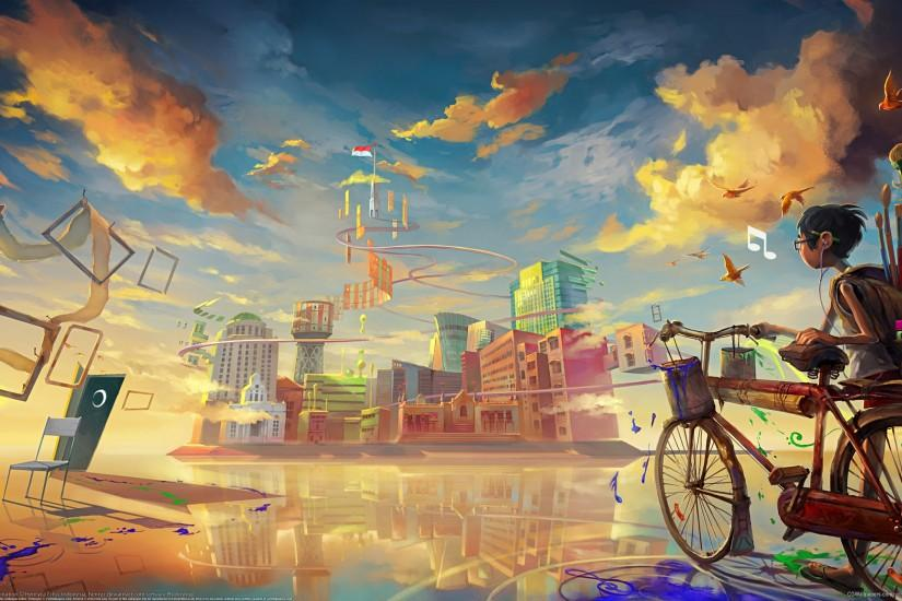 I Love Art Wallpapers Young boy outside the City [2560 1600]