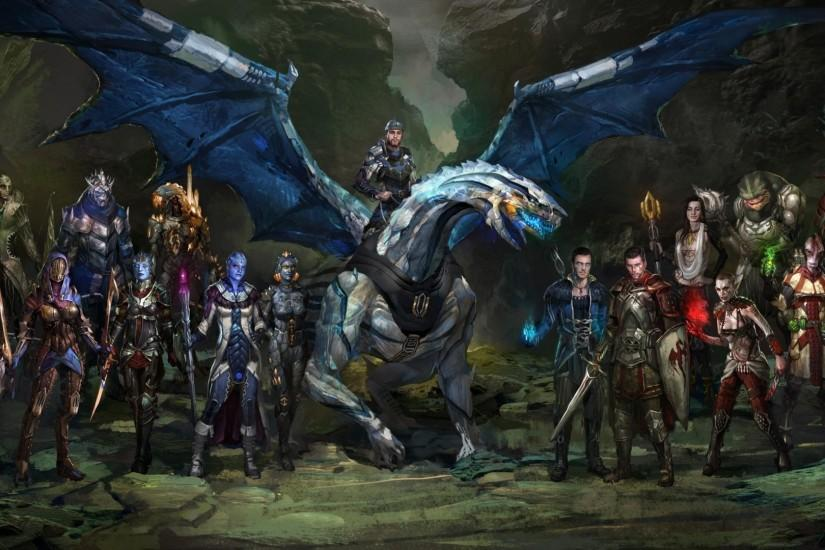 Preview wallpaper dragon, rider, creatures, army, cliffs 1920x1080
