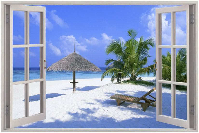 Window Exotic Beach View Wall Stickers Film Mural Art Decal Wallpaper .
