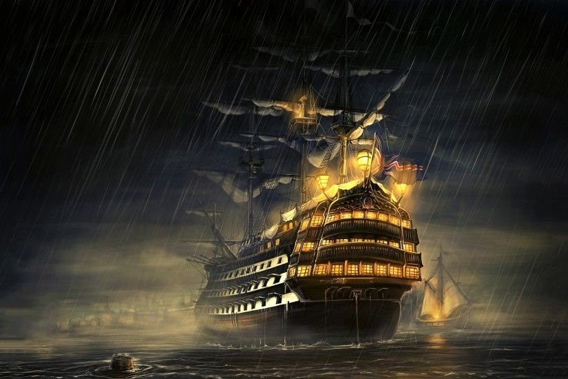 navy, Royal Navy, Sailing Ship, Sea, Rain, Manowar, Ship,