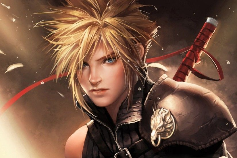 sakimichan final fantasy advent children cloud strife short hair blue eyes  blonde hair blush men weapon