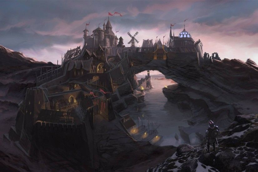 the elder scrolls v skyrim concept art town solitude solitude man bridge  fortress rock bay river