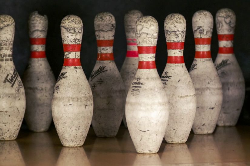 Ball rolling on wooden lane and crashing skittle at alley. Tenpins bowl  game playing. Winning hit the target Stock Video Footage - VideoBlocks