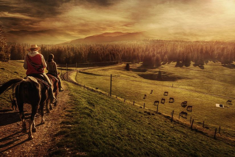 Photography - Landscape People Man Horse Sunset Wallpaper
