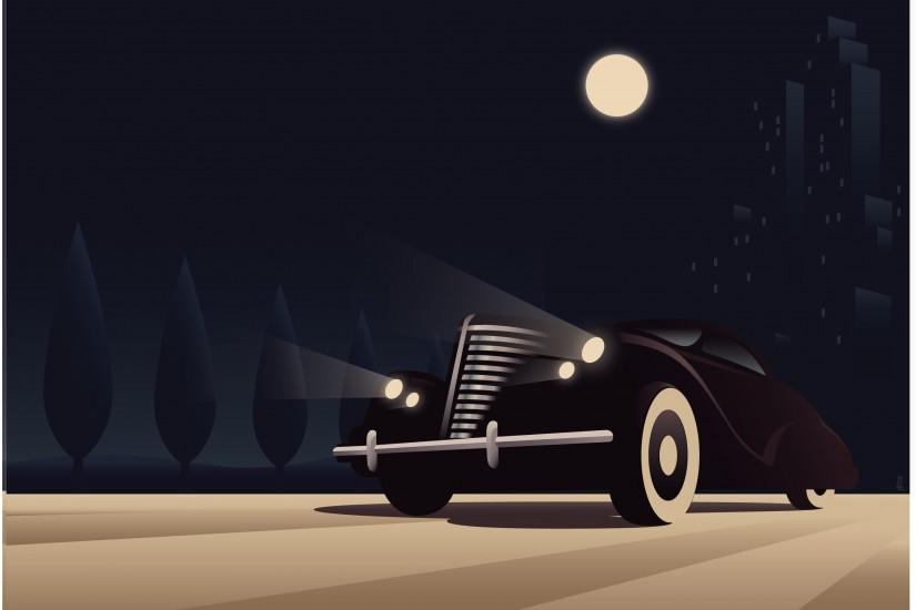 art deco car poster vector architecture style design on art deco car vector