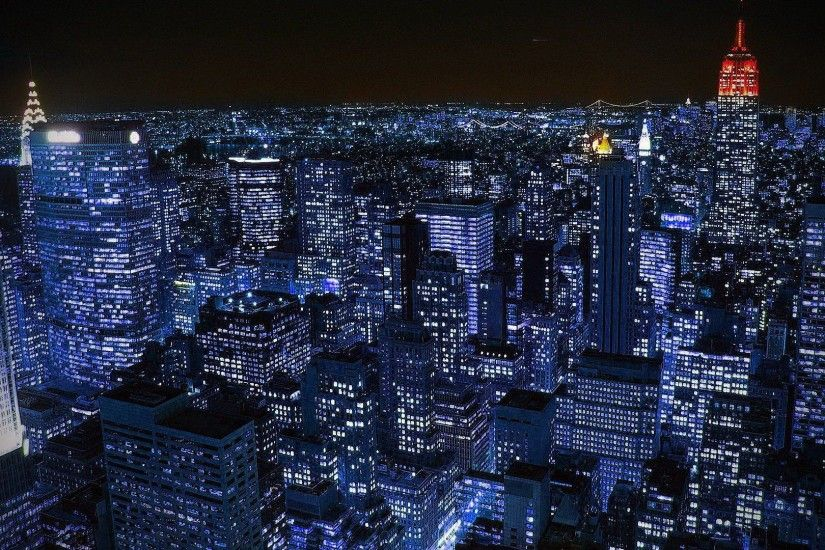 New York City At Night Desktop Wallpaper
