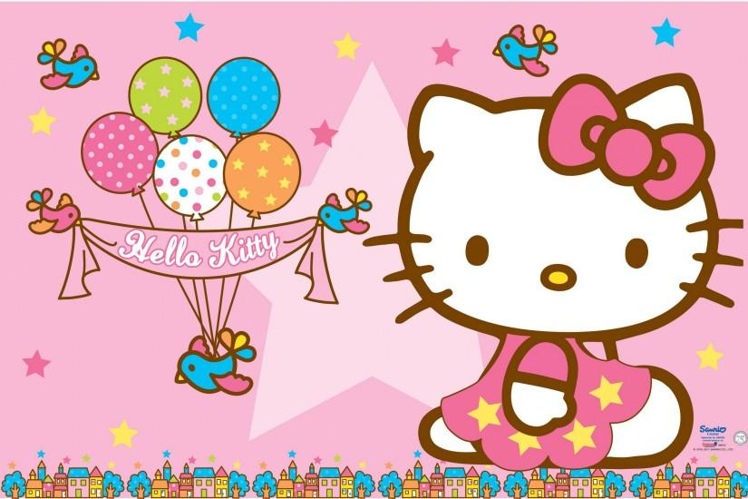 Hello Kitty Wallpaper – Pink Background and Balloons for Birthday .