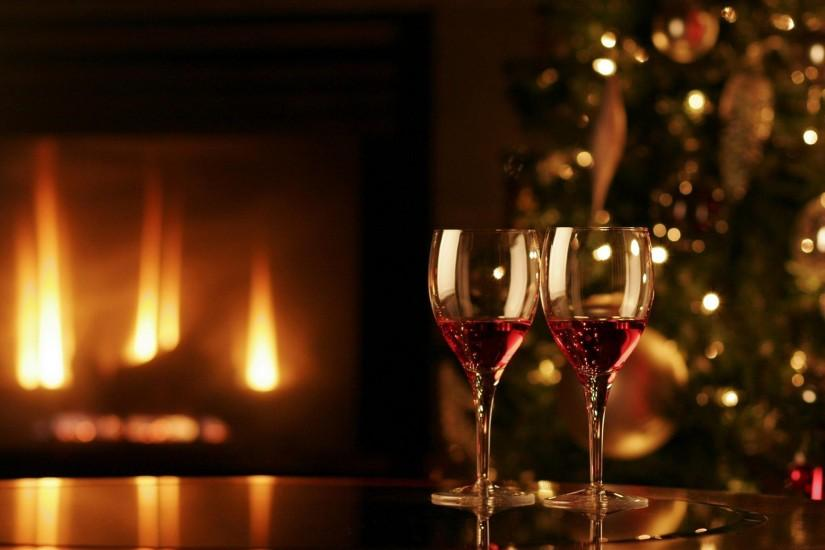 Two Wine Glasses Christmas Fireplace Merry Christmas HD Wallpaper .