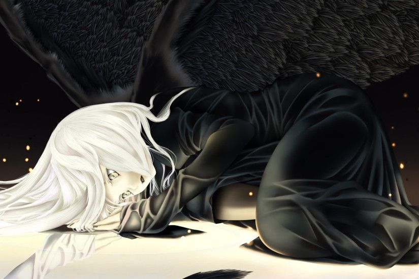 1920x1080 Wallpaper anime, girl, blond, wing, sadness, darkness