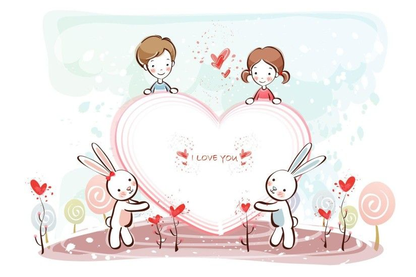 Wallpapers For > Cute Couple Cartoon Wallpapers