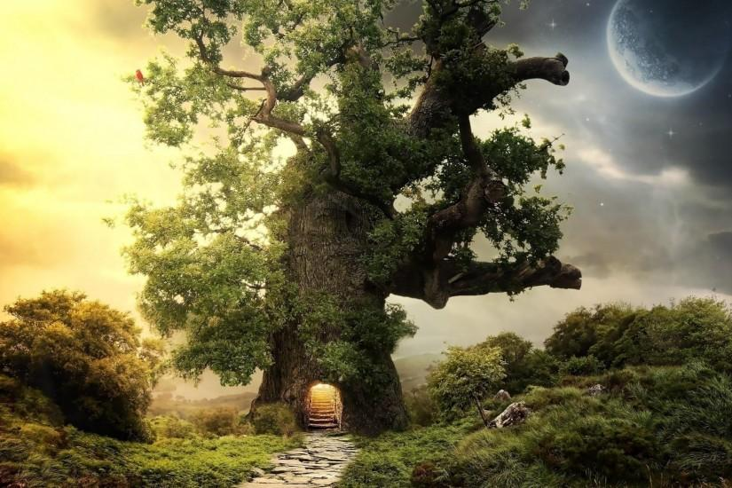 Old Tree Landscape Fantasy Art Wallpaper