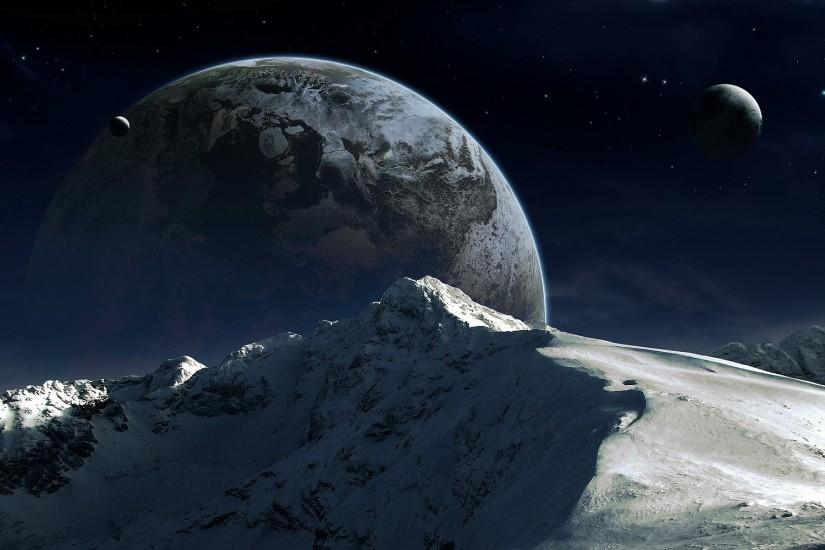 Mountain on the background of the planet