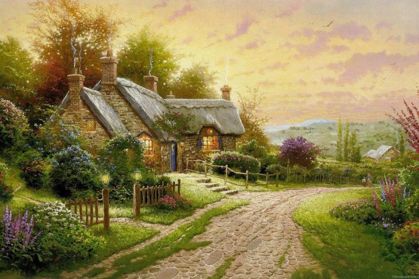 Thomas Kinkade Wallpaper, Art, Painings, Desktop Wallpapers, 1920x1200