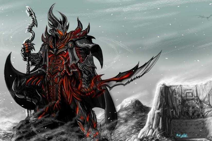 Preview wallpaper skyrim, game, art, rider, armor, staff, sword 2560x1440