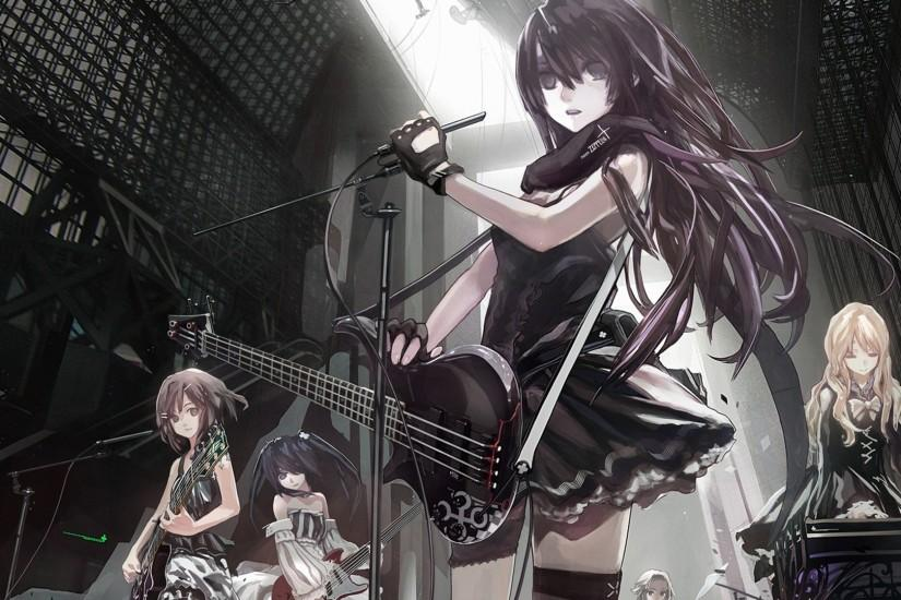 Wallpaper Anime, Girls, Crowd, Music, Band, Guitar, Microphone