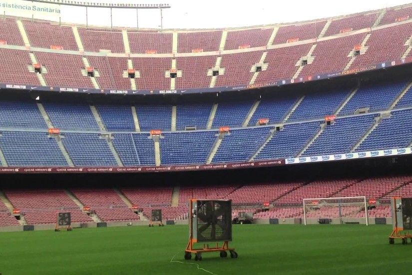 Fc Barcelona camp nou. 360 view from dug-out