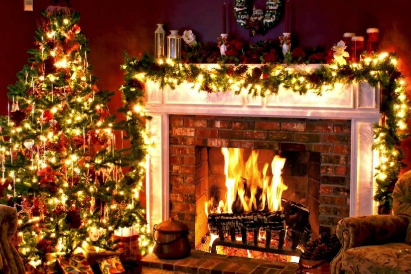 Christmas Tree And Fireplace Backgrounds Happy Holidays .