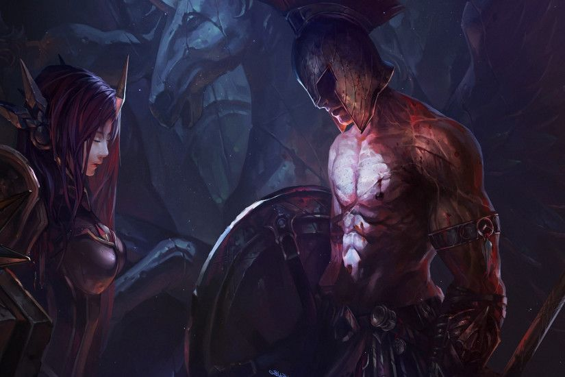 ... Leona and Pantheon - League of Legends wallpaper 1920x1080 ...