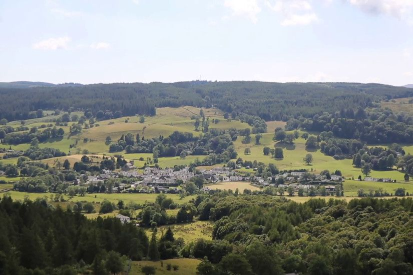 View to Hawkshead village the Lake District England uk beautiful English  countryside pan Stock Video Footage - VideoBlocks