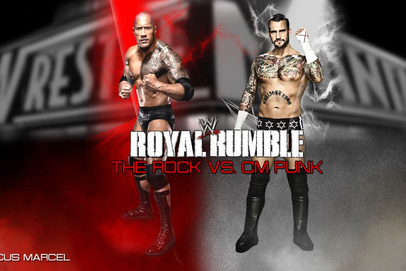 CM Punk by MarcusMarcel WWE Royal Rumble 2013 - The Rock vs. CM Punk by  MarcusMarcel