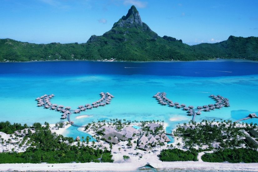 Preview wallpaper bora-bora, resort, islands, pacific ocean, hotel, chaise