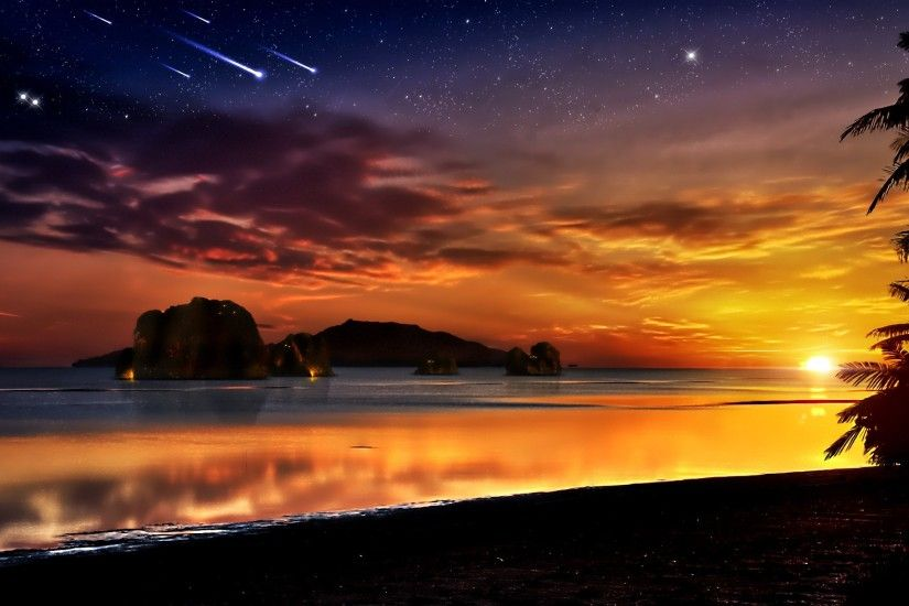 1920x1200 Sunset ocean rocks fantasy art scenic shooting star skyscapes  Wallpapers, #9 of 64