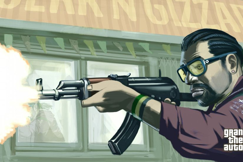 Preview wallpaper assault, man, gun, ak-47, gta 4 1920x1080