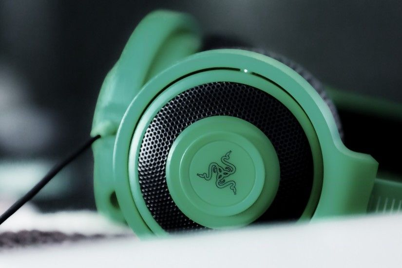 1920x1080 Wallpaper razer, headphones, logo