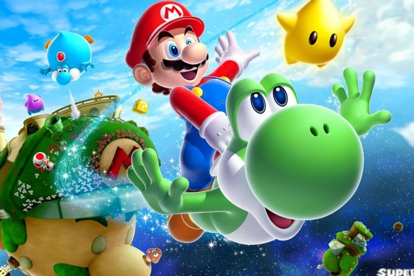 Preview wallpaper super mario galaxy 2, mario, dinosaur, yoshi, stars  2048x1152