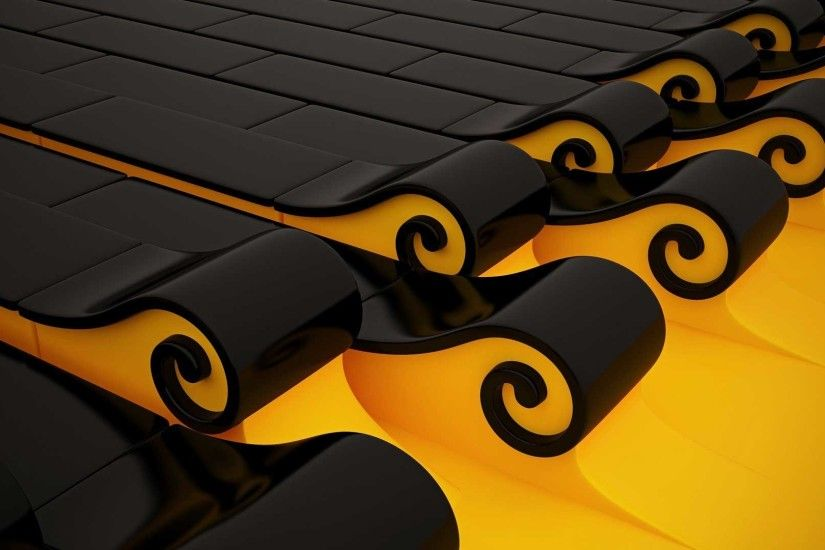 Yellow And Black Art Spirals Full Screen HD.