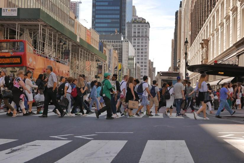 crowded city street in new york. people walking background Stock Video  Footage - VideoBlocks