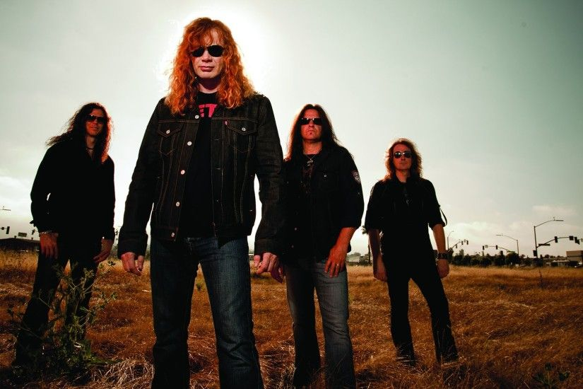 Preview wallpaper megadeth, band, field, sky, glasses 1920x1080