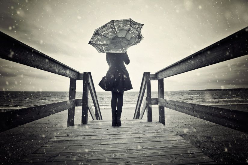 dark ladies with umbrellas | sadness girl, umbrella, winter, sea, bridge,