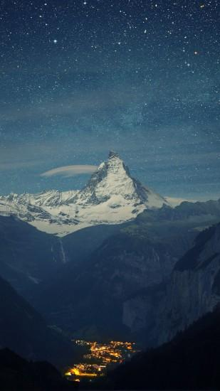 Preview wallpaper switzerland, alps, mountains, night, beautiful landscape  1080x1920