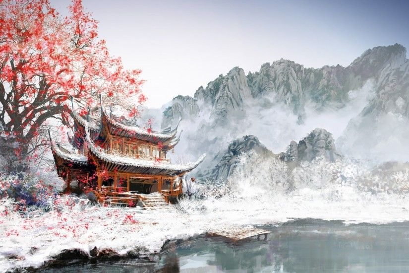 Fantasy Landscape Winter Sakura Blossom Wallpaper