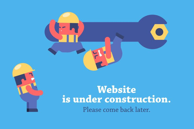 Funny cartoon workers repairing website using huge spanner. Looped  animation. Prerendered composition and workers on transparent background.