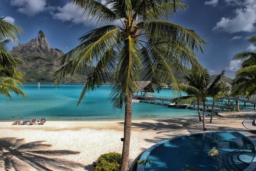 Island Trees Tropical Tahiti Bora Sea Beach Dream Resort Wallpaper HD  Mobile - 1920x1080